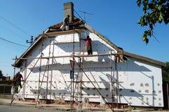 Förlage av konstruktionsmaterialet till byggnadsställning Arkivbilder