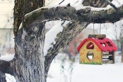 Förlagematare för fåglar på ett träd i vinter Voljär royaltyfri bild