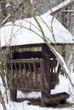 Förlagematare för wild djur i vinter Royaltyfri Foto