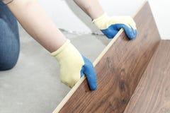 förlagen i blåa handskar gör att lägga golvtilja det finns en nivå och gummihammare royaltyfri fotografi