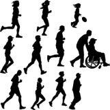 Förlamad i båda benen person som en löpare Arkivbild