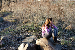 Förlorad flicka Fotografering för Bildbyråer