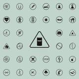 förlorad teckensymbol för kemikalie Uppsättning för symboler för varningstecken universell för rengöringsduk och mobil vektor illustrationer