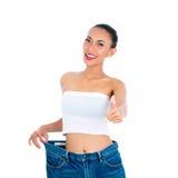 Förlorande vikt för ung asiatisk kvinna, genom att bo som är sunt Arkivbild
