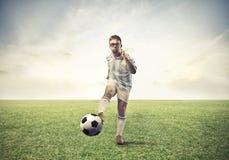 Förlorarefotbollsspelare royaltyfria foton