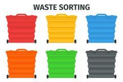 Förlorat sortering- och återvinningsorteringledningbegrepp Färgrika avskrädebehållare och fack stock illustrationer