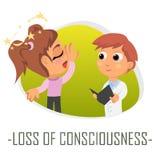 Förlust av medvetenhetläkarundersökningbegreppet också vektor för coreldrawillustration Royaltyfri Fotografi
