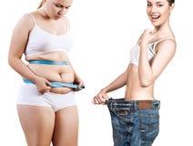 Förlust för vikt för kropp för kvinna` s före och efter Royaltyfri Bild