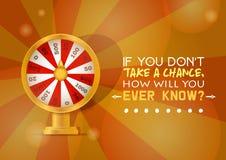 Förmögenhethjulvektorn försöker att segra i för kasinorouletten för snurrandet modig lyckönskan för lyckligt rullat gynnsamt för  vektor illustrationer