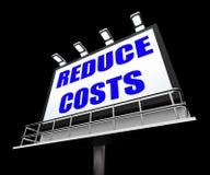 Förminska kostnader, tecken somhjälpmedlet minskar priser och vektor illustrationer