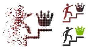 Förmultnad PIXELhalvton Person Steps To Crown Icon royaltyfri illustrationer