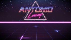 förnamn Antonio i synthwavestil royaltyfri illustrationer