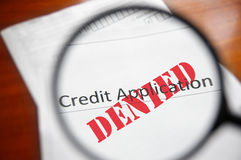 förnekad kreditering Arkivbild
