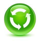 Förnya för gräsplanrundan för symbolen den glas- knappen Royaltyfri Foto