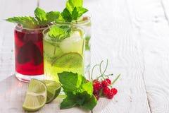 Förnyande drinkar och olika nya frukter och bär Royaltyfria Bilder