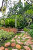 Förnyande grön trädgård, gångbanor med stenar royaltyfri foto