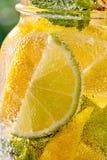 F?rnyande mojitococtail f?r Closeup i ett exponeringsglas med limefrukt och mintkaramellen arkivfoto