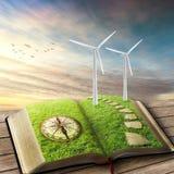 Förnybar källa av energibegreppet Windgeneratorer, ekologi Arkivbild