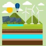 Förnybara energikällor gillar hydro, sol- och vindkraft stock illustrationer