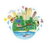 Förnybara energikällorbegrepp, grön planet, vektorillustration Royaltyfri Bild