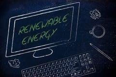 Förnybara energikällortext på datorskärmen, på ett skrivbord med keyboar Arkivbild