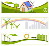 Förnybara gröna energibakgrunder stock illustrationer