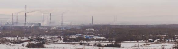 Förorening av miljön, panorama Royaltyfri Fotografi