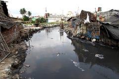 Föroreningar på den Hazaribagh garveriet av Bangladesh Arkivbild