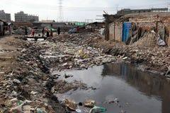 Föroreningar på den Hazaribagh garveriet av Bangladesh Royaltyfri Fotografi
