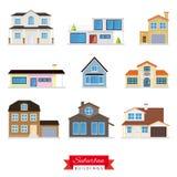 Förorts- byggnadsvektoruppsättning stock illustrationer