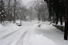 förorts- häftig snöstorm Royaltyfri Bild