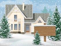 Förorts- hus i snö Royaltyfri Fotografi