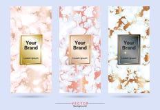 Förpacka & mallar för etikettmärkesdesign som är passande för lyxiga eller högvärdiga produkter med marmortextur, vektor illustrationer