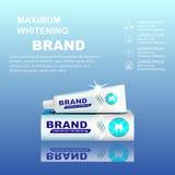 Förpackande design för tandkrämannonser Royaltyfria Bilder
