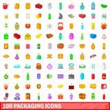 100 förpackande symboler ställde in, tecknad filmstil Royaltyfria Foton