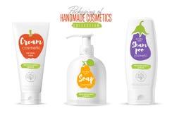 Förpackande uppsättning för handgjord kosmetisk märkesmall stock illustrationer