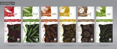 Förpackande uppsättning för krydda royaltyfri illustrationer