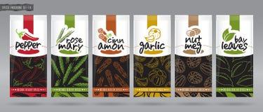 Förpackande uppsättning för krydda vektor illustrationer