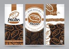 Förpackande uppsättning för pecannöt vektor illustrationer