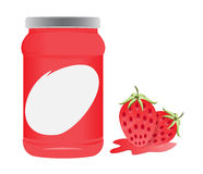 Förpackande vektordesign för jordgubbe och för flaska Royaltyfri Fotografi