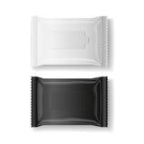 Förpackar våta wipes för svart & för vit den realistiska vektorn, isolaten, 3D Arkivbilder