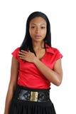 förplikta kvinna för afrikansk amerikanaffär arkivfoto
