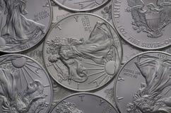 Förråd av silver Eagle Coins för Förenta staterna (USA) Arkivfoto