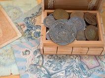 Förrådet av gamla mynt royaltyfria foton