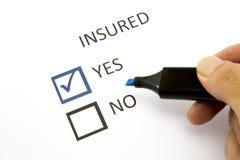 Försäkring eller risk Arkivfoton