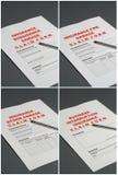 försäkring för reklamationsdatalistor arkivbilder