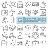 Försäkringlinjen symbolsuppsättningen, skyddssymboler samlingen, vektor skissar, logoillustrationer, linjärt säkerhetstecken Arkivfoto
