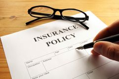 försäkringpolitik Royaltyfri Fotografi