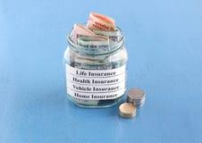 Försäkringspremiebetalningbegrepp Arkivbilder