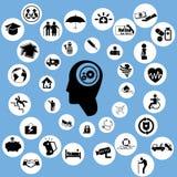 Försäkringsymboler och funderare Arkivbild